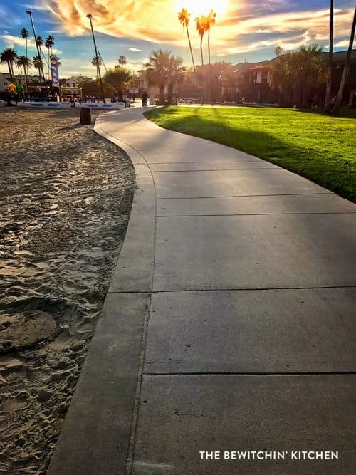 Walking Mission Bay outside the Catamaran Resort and Spa in San Diego. A great place for free fitness and family travel!