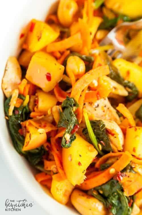 Spicy Chicken and Apple Sweet Potato Stir Fry – The Bewitchin ...