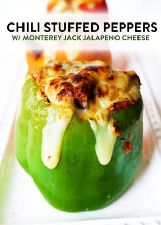 Healthy Chili Stuffed Peppers with Monterey Jack Jalapeno Cheese. Talk about comfort food! This family dinner recipe is easy to throw together, especially with leftover chili!