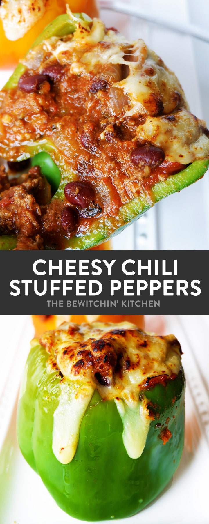 Cheesy Chili Stuffed Peppers with Monterey Jack Jalapeno Cheese. Talk about comfort food with a healthy recipe twist! This family dinner recipe is easy to throw together, especially with leftover chili!