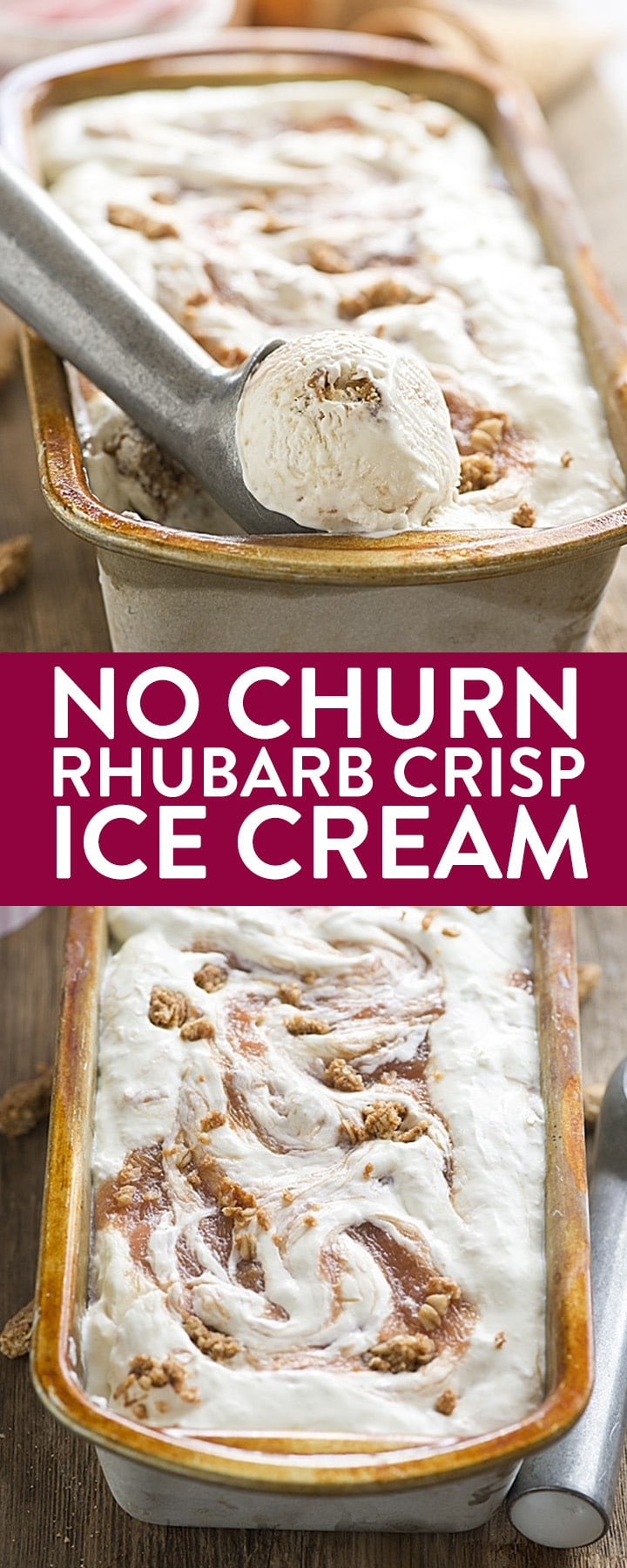 No Churn Rhubarb Crisp Ice Cream - this homemade ice cream recipe is super to make with just a few ingredients like sweetened condensed milk, whipping cream, rhubarb, and granola.