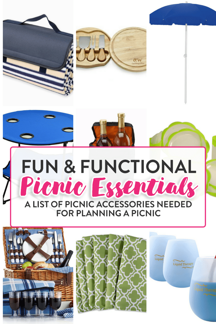 These picnic essentials is a cute list of picnic accessories needed for planning a picnic. Picnic lunches are one of my favorite summer activities.