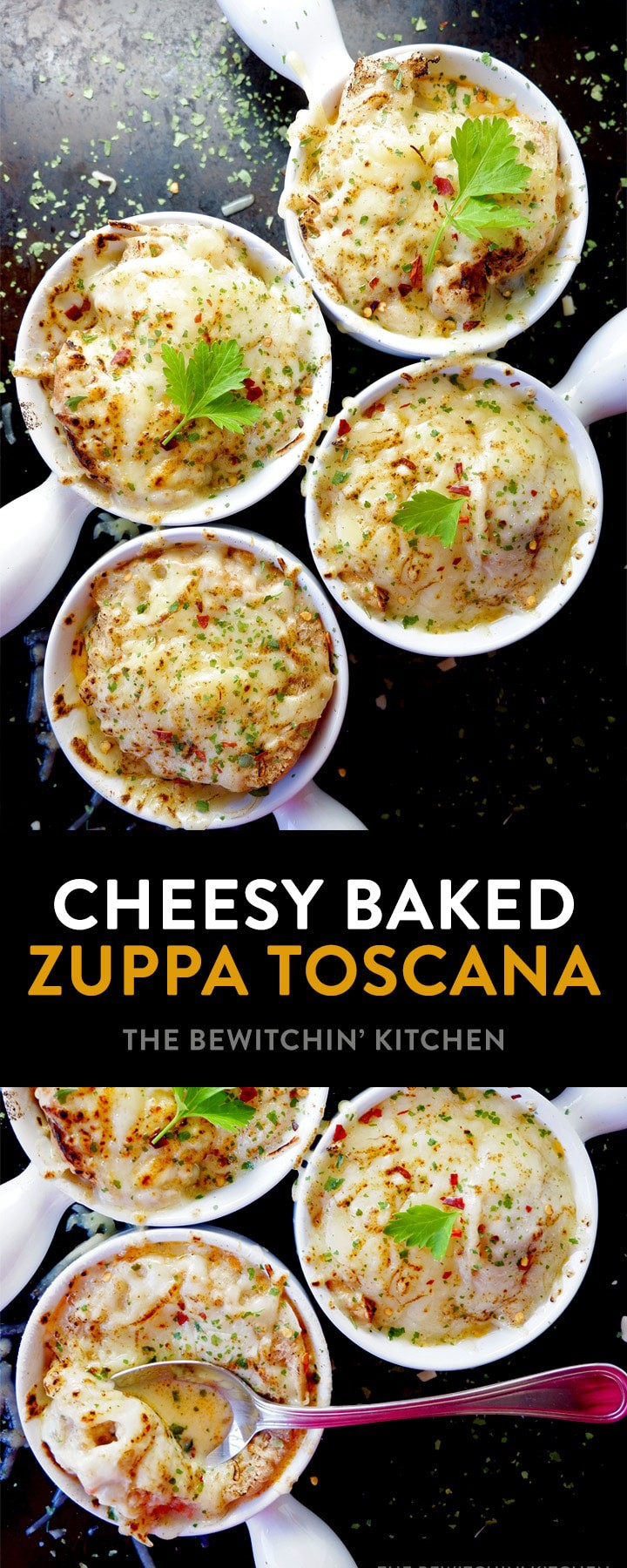 This recipe for Baked Zuppa Toscana is a cheesy twist on an Olive Garden soup favorite. Inspired by both the zuppa and french onion soup, this dinner is pure comfort food that's simple and easy.