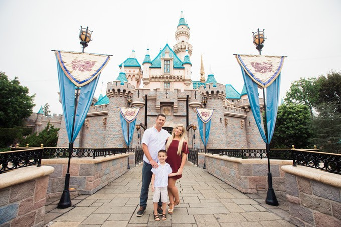 Family photos at Disneyland Sleeping Beauty Castle