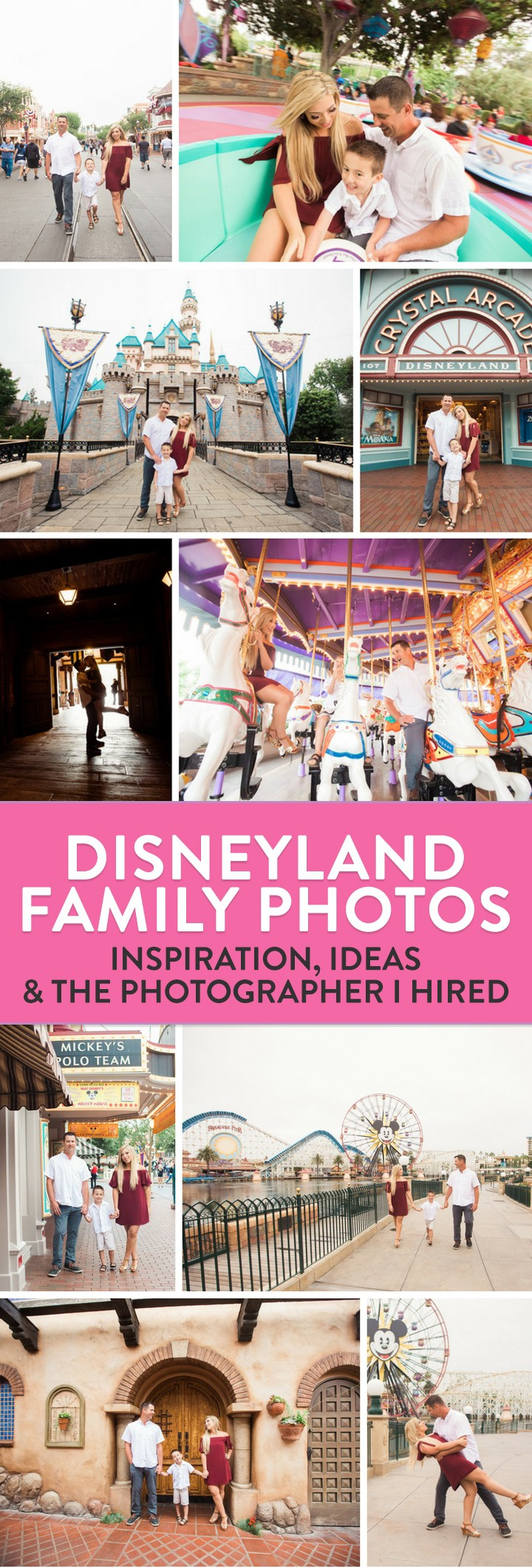 Disneyland family photo session. I hired a photographer for our recent trip to Disney and I love our Disneyland photos. We got the perfect Sleeping Beauty Castle shot and not only did she do a family session but an engagement session and some blogger headshots.