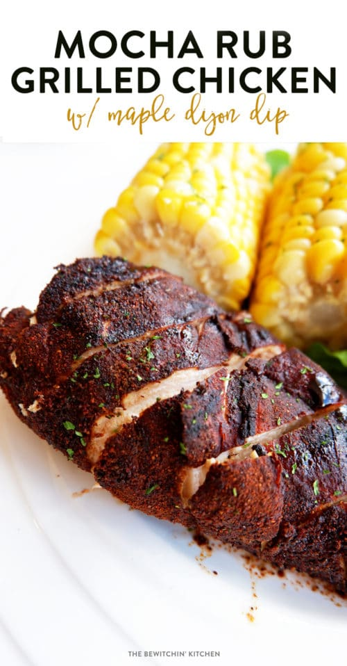 Mocha Rub Grilled Chicken with maple dijon dip. This BBQ chicken recipe uses a unique dry rub that mixes coffee grounds and cocoa powder. It makes for a smokey BBQ flavor.