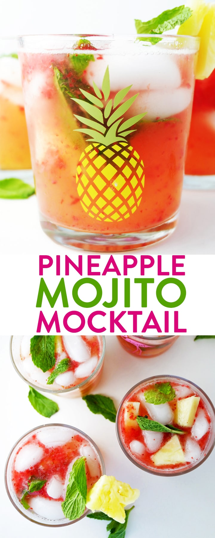 This pineapple mojito mocktail topped with a strawberry slush is a delicious virgin cocktail recipe that uses sparkling water, pineapple juice, mint, and fruit. With no refined sugar added this is a great kids mocktail and party drink!