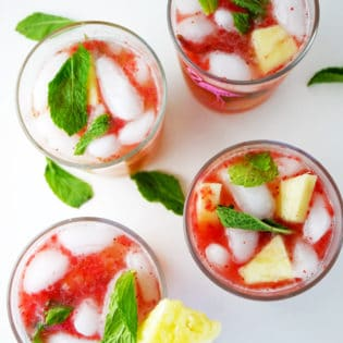 Pineapple Mojito Mocktail with Strawberry Puree