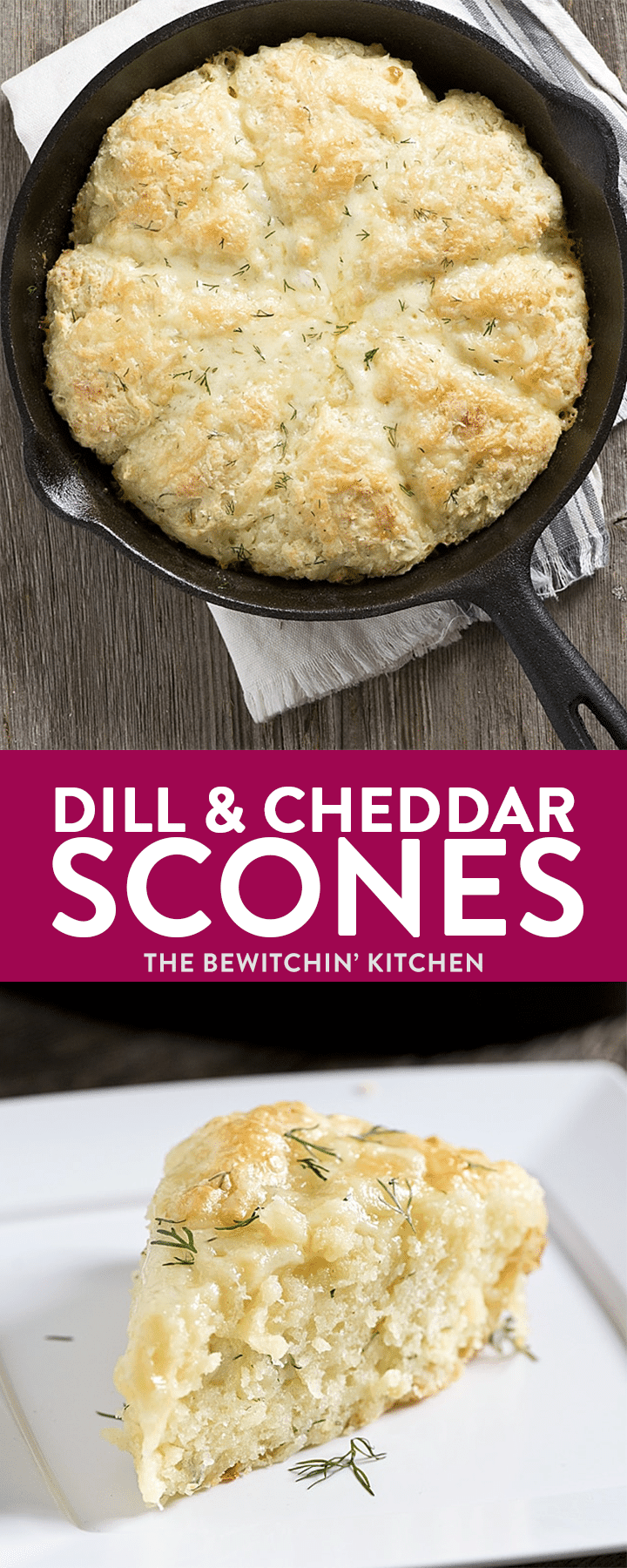 An easy recipe for Skillet Dill and Cheddar Buttermilk Scones, using garden fresh dill and extra old cheese! The perfect lunch or tea break treat!