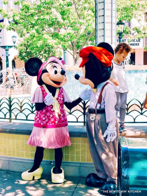 Mickey and Minnie Mouse at California Adventure across from Disneyland