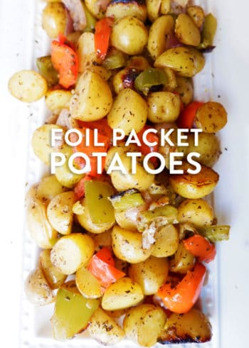 Classic and easy foil packet potatoes. This healthy grilling recipe uses potatoes, herbs, garlic, and bell peppers.