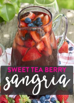 Sweet Tea Berry Sangria recipe. An overnight iced tea turned into white wine sangria with fresh berries!