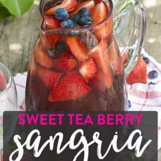 Sweet Tea Berry Sangria recipe. An overnight iced tea turned into white wine sangria with fresh berries!