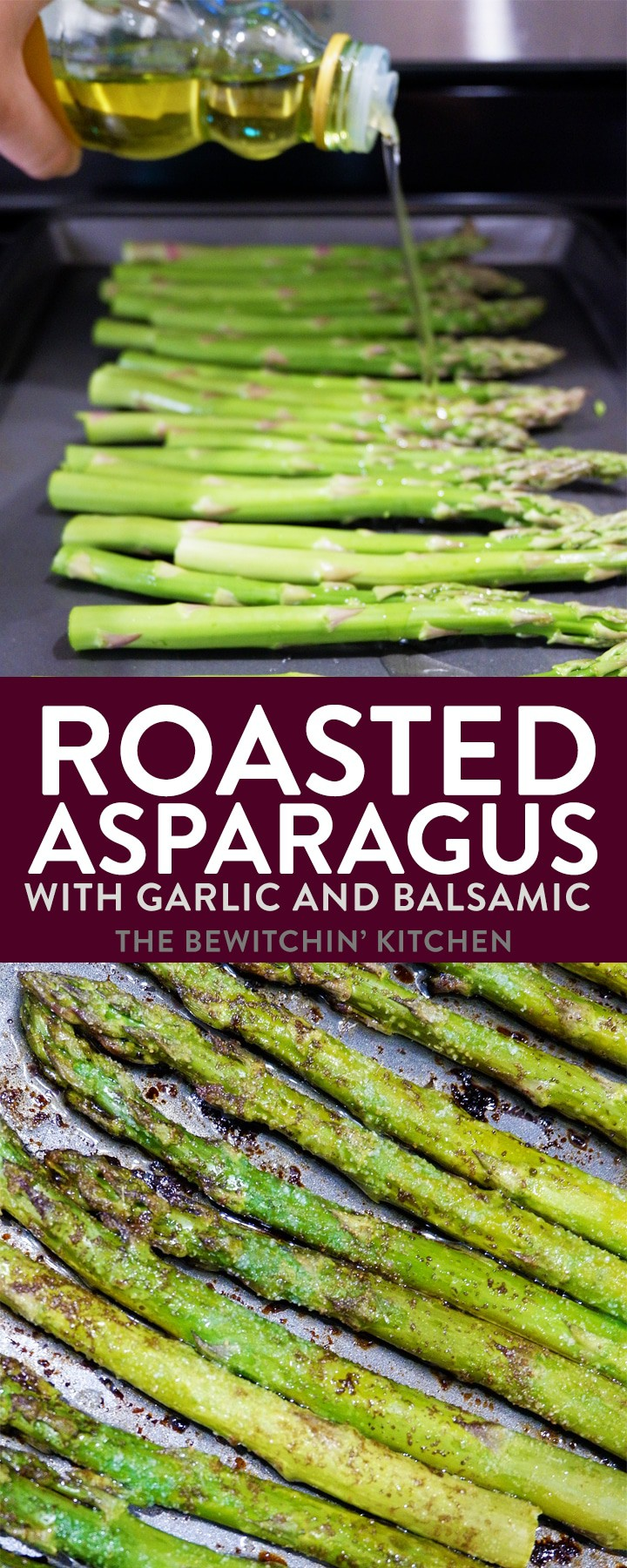 Easy and delicious oven roasted asparagus with garlic and balsamic. Serve this as a healthy side dish with your steak dinner or grilled chicken.