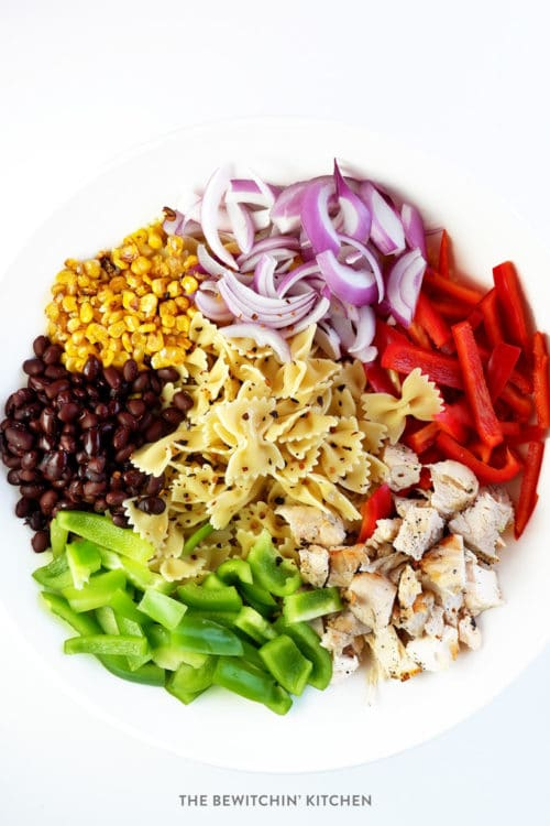 Fajita Pasta Salad. A delicious vegetable filled salad recipe that's high in protein and makes a great BBQ side dish.