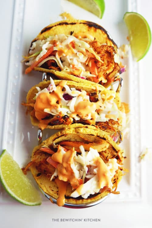Crockpot Chicken Tacos with Coleslaw