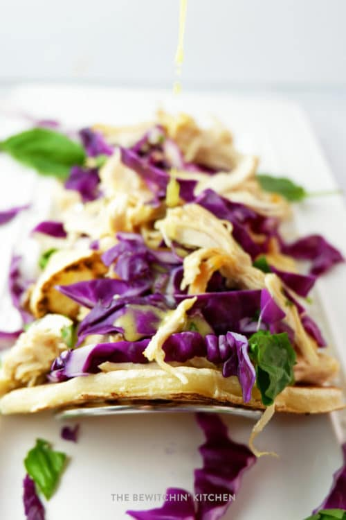 Homemade chicken tacos with citrus basil vinaigrette