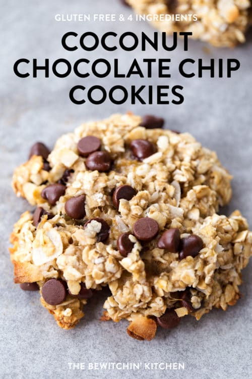 These gluten free coconut chocolate chip cookies only have four ingredients! They're healthy, have no sugar, and make a delicious breakfast cookie recipe.