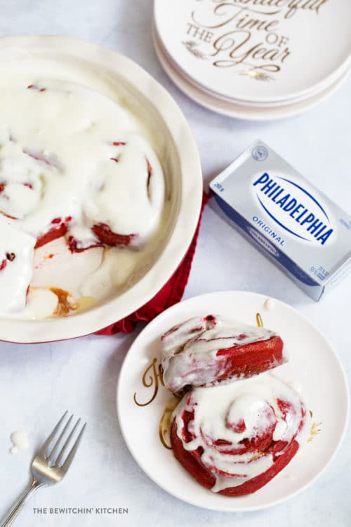 Red Velvet Cinnamon Rolls with Cream Cheese Glaze