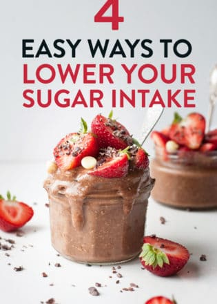 4 easy ways to lower your sugar intake! Reduce your sugar consumption with these healthy living tips and low sugar recipes!