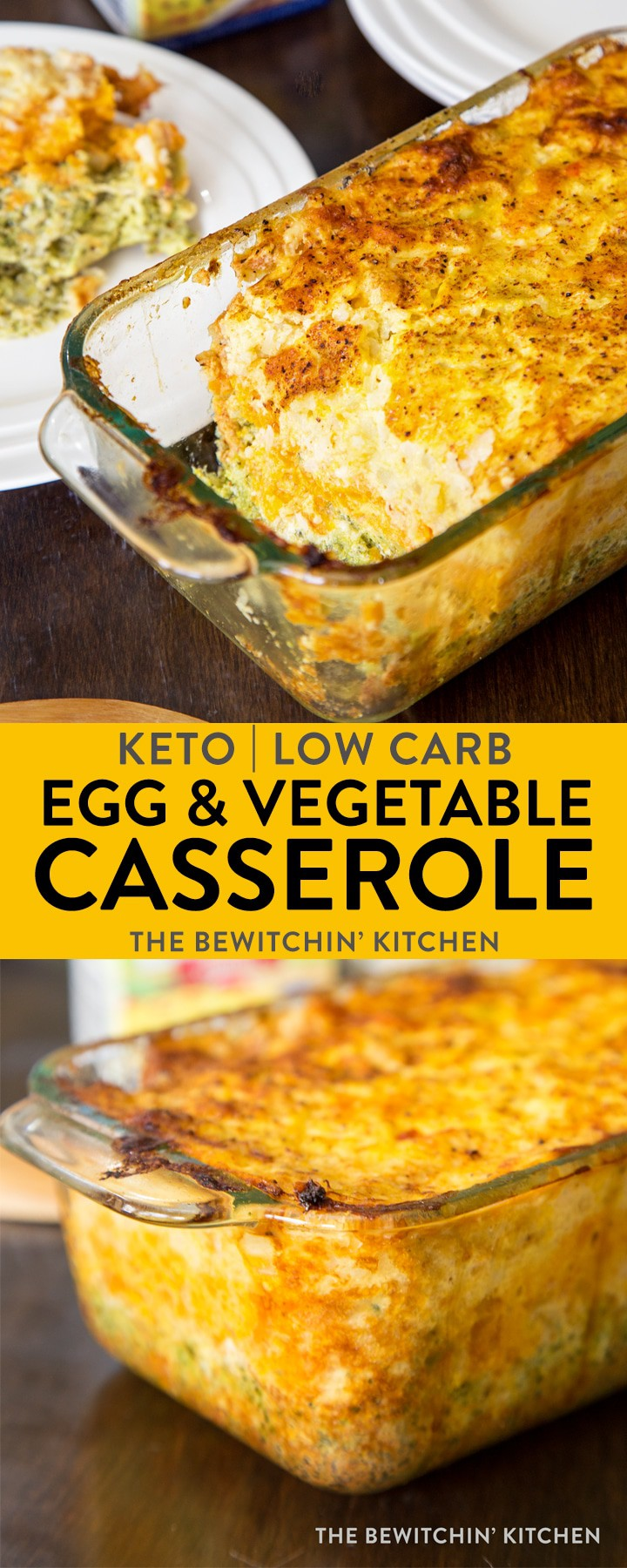 Ketogenic Egg Vegetable Casserole - this keto breakfast recipe is a low carb favorite in my family. This makes a perfect side dish for brunch and has minimal ingredients. I love the cheesy vegetable mix! #ketorecipes #ketobrunch #ketobreakfast #thebewitchinkitchen