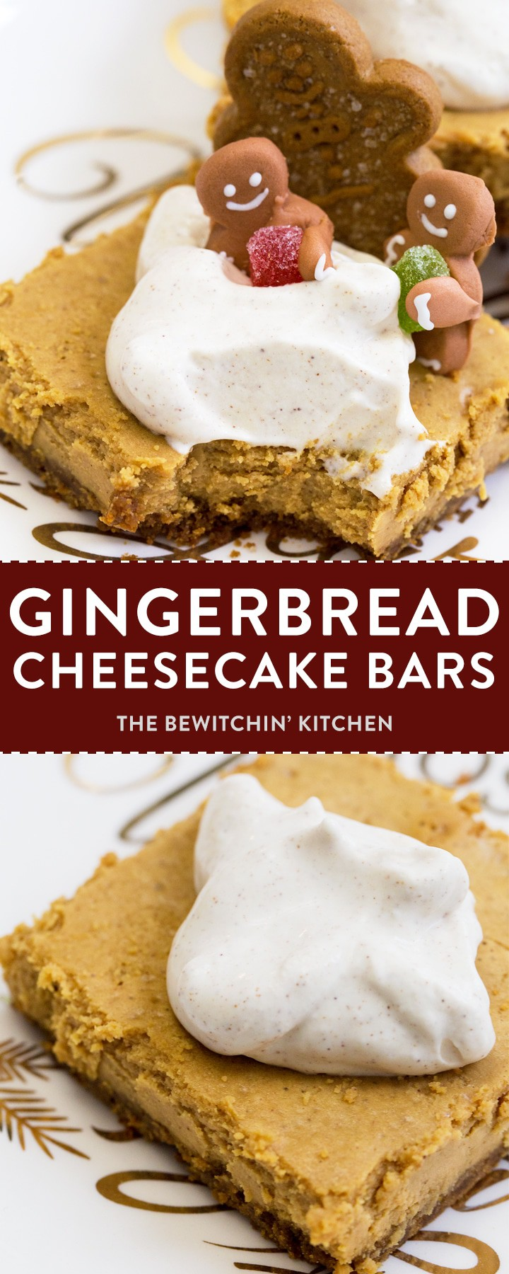 Gingerbread cheesecake bars are a simple holiday twist on a traditional cheesecake recipe. Whether you call them bars or squares just know that these are a perfect for easy Christmas Baking recipes. If you use them as Christmas baking gifts, your neighbors will love you!