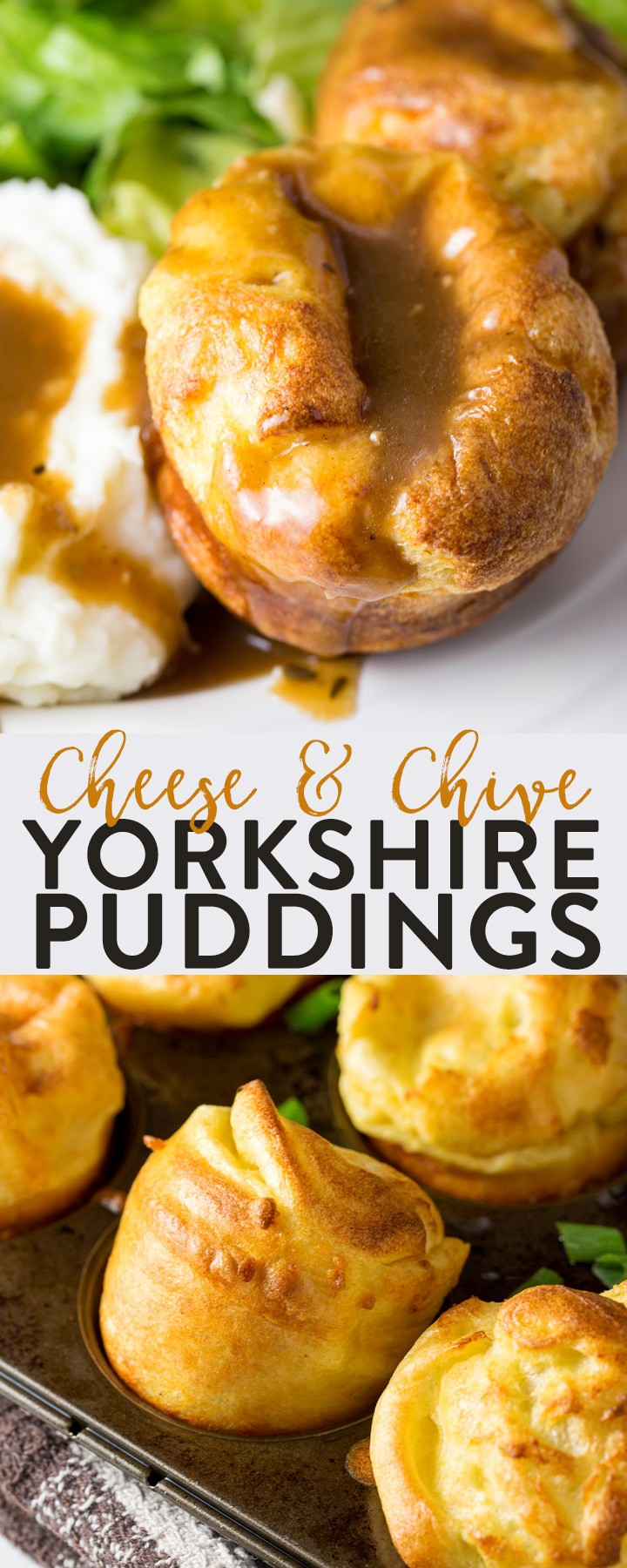 Yorkshire Puddings with cheese and chives. This classic recipe for yorkies are the perfect side dish for roast beef dinner, whether it's for a holiday feast, Sunday dinner, or Christmas this yorkshire pudding recipe will make you famous.
