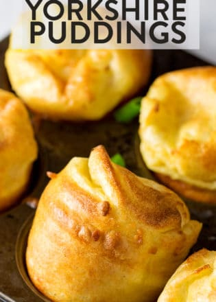A yummy yorkshire pudding is a must with any roast beef dinner. These cheese and chive yorkshire puddings are the PERFECT side dish to Sunday night dinners. Top with beef gravy and it's heaven on earth.