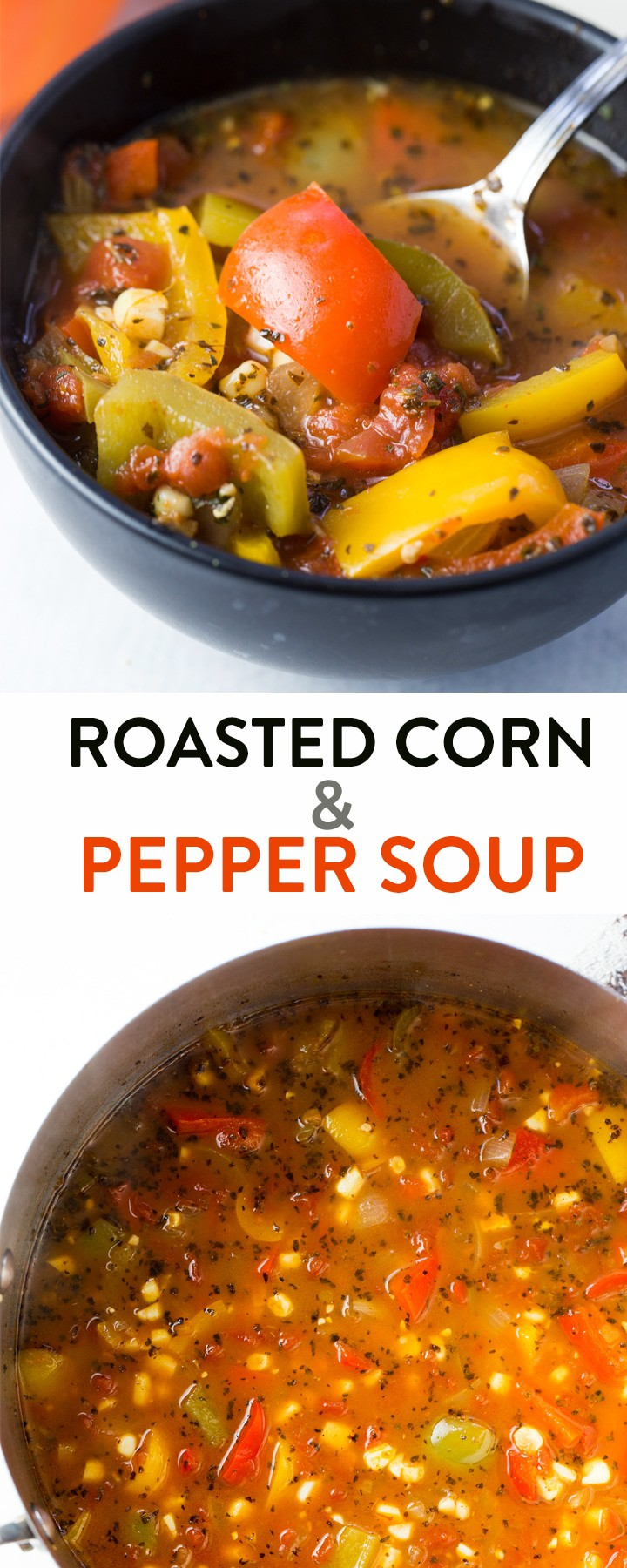 This roasted corn and pepper soup recipe is a healthy and nutritious dinner or lunch recipe. Make it whole30 and paleo by omitting the corn, but this clean eating soup is great the way it is. 21 Day Fix approved, along with the Beachbody container system. #21dayfixrecipes #Healthyrecipes #cleaneatingrecipes #cleaneatingsoup #souprecipes #healthysoup