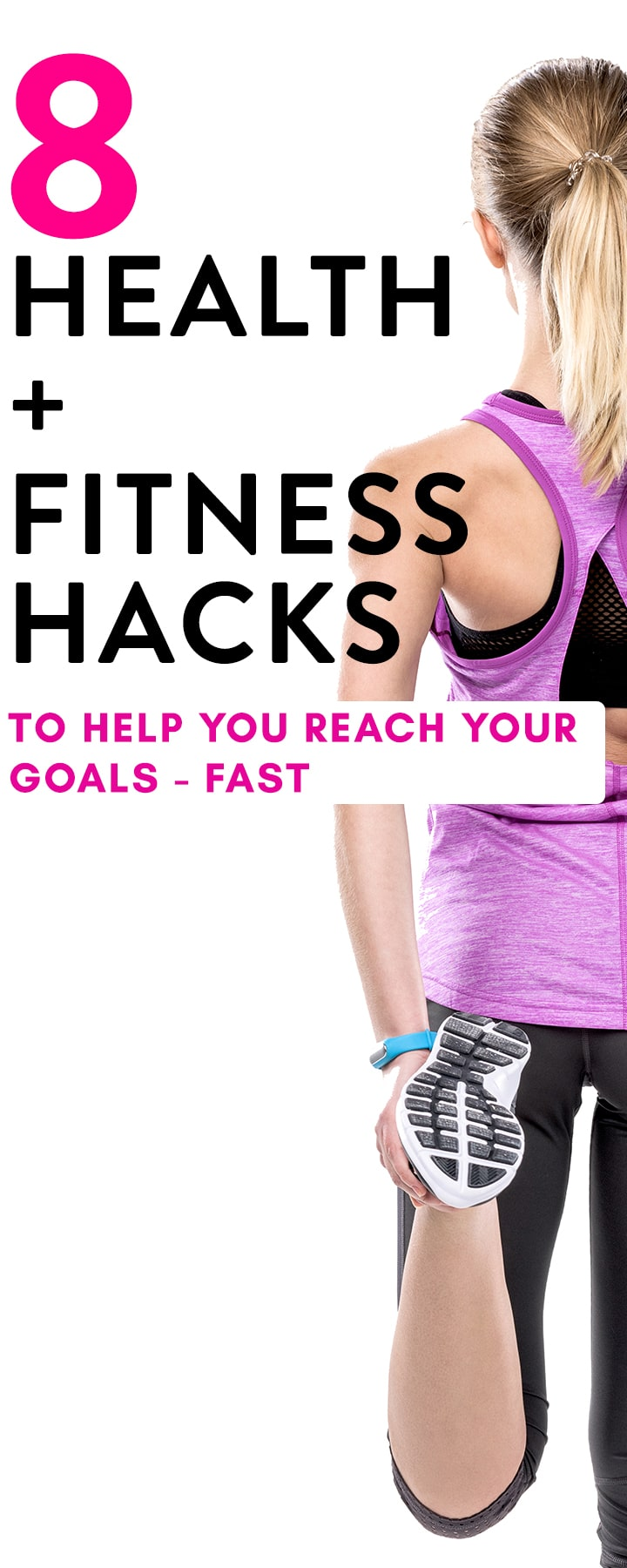 From meal planning to your workouts, here are 8 health and fitness hacks to give you a boost so you can reach your health goals fast! Healthy hacks are not only a great motivation but they bring the results whether it's gaining strength or losing weight! #ad #healthyhacks #healthhacks #weightloss #losingweight #fitness #health