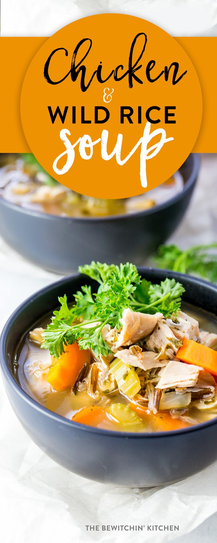 Chicken and wild rice soup. This hearty and healthy recipe is broth based and a clean eating soup favorite. No cream, dairy free, and gluten free! Wild rice, carrots, chicken breast, onion, and more classic ingredients make this a wholesome, soul hugging recipe.