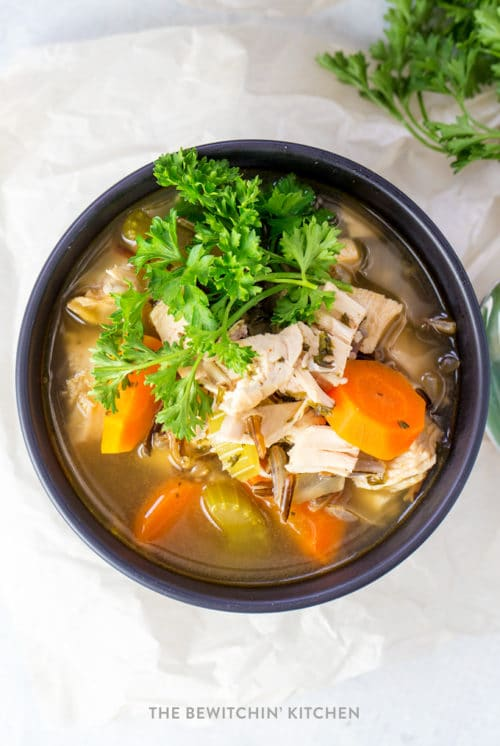 Healthy chicken wild rice soup