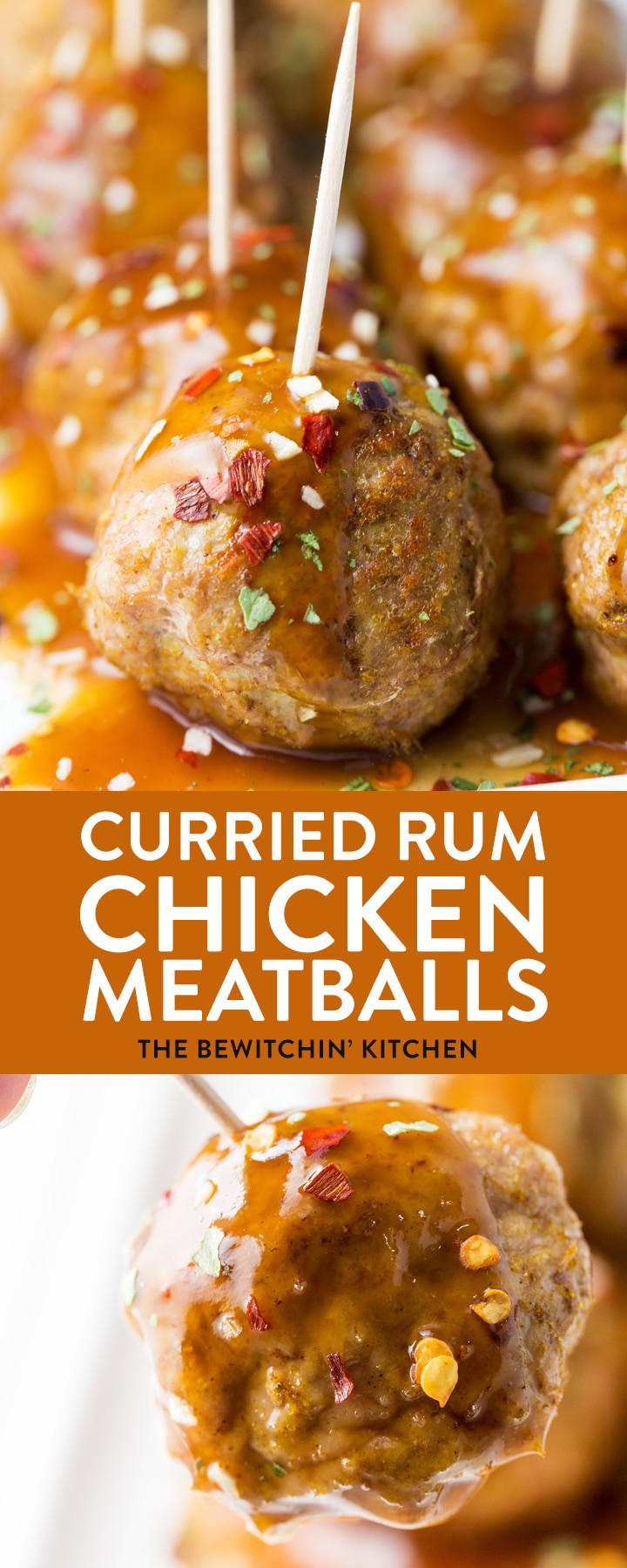 These curried rum chicken meatballs are not only easy to make but incredibly tasty! Whether it's for an appetizer or a main dish for a twist on chicken dinner, give these chicken balls a try! #chickenmeatballs #currychickenmeatballs #curryrummeatballs #healthychickenrecipes