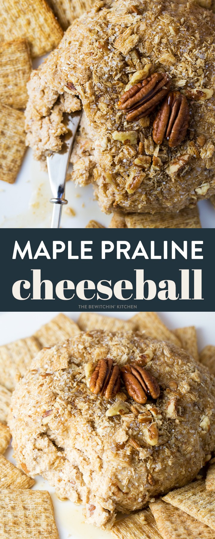 This maple praline cheeseball is a must have Christmas party appetizer. Sweet maple syrup, cinnamon, and crunchy pecans make this holiday cheeseball a favorite. Serve this delicious dessert dip with cinnamon crackers and fruit. #cheeseball #dessertcheeseball #brownsugarcheesecake #pralinedessert #pralinecheesecake #praline