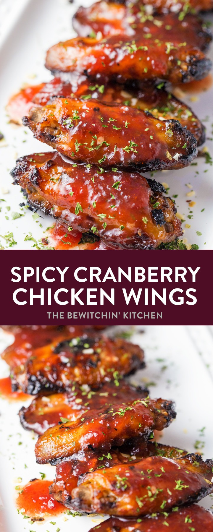 Looking for an easy appetizer recipe? Try these Spicy Cranberry Chicken Wings - hot wings with a touch of cayenne spice! Perfect for game day recipes, party appetizers, or Christmas Hors d'oeuvres. Best party? They use all the leftover cranberry sauce! #hotwings #chickenwingrecipes #leftovercranberrysauce #chickenrecipes #cranberrysaucerecipes #thebewitchinkitchen