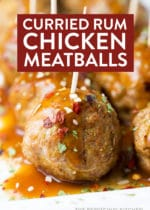 Curry Rum Chicken Meatballs - a delicious appetizer to serve at parties or as a side dish for dinner!
