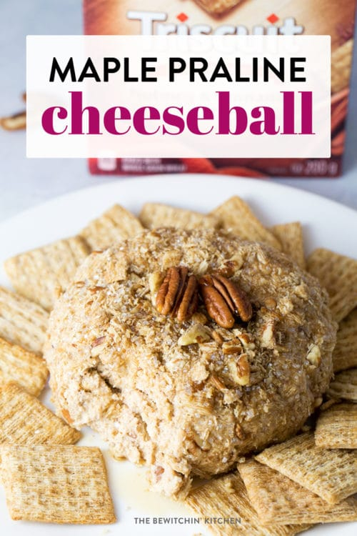 This maple praline cheeseball is a must have holiday party appetizer. Cream cheese, pecans, maple syrup - YUM! A twist on a brown sugar cheesecake in a dessert dip form delicious with sweet crackers and fruit.