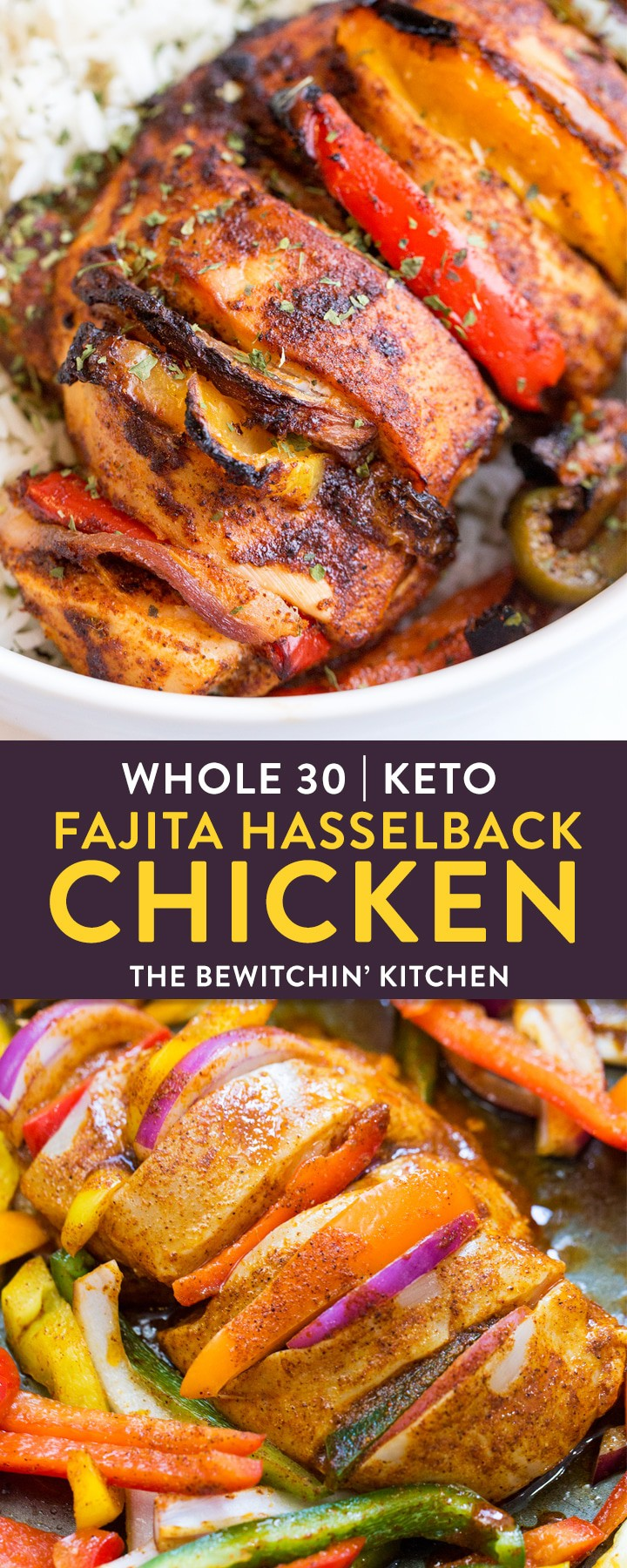 This easy whole30 recipe for fajita hasselback chicken is a clean eating must do! A healthy, high protein, low carb alternative to a dinner favorite is always good in my books. A twist on fajitas with the simplicity of sheet pan chicken. This falls under keto recipes, 21 Day Fix, 80 Day Obsession, and paleo recipe approved. AD #thebewitchinkitchen #whole30chickenrecipes #whole30recipes #ketorecipes #21dayfixrecipes #80dayobsessionrecipes #paleorecipes #healthychickenrecipes #cleaneatingrecipes