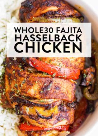 Sheet pan Fajita chicken, hasselback style! A healthy dinner recipe that's Whole30, Keto, Paleo, and fits all healthy diets and dinner/lunch ideas.