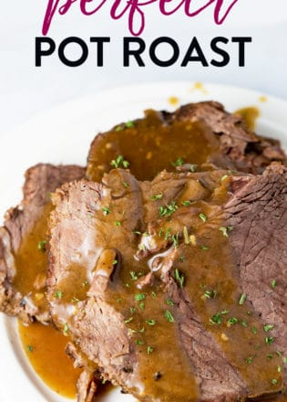 How to cook the perfect pot roast. This recipe is a classic roast beef dinner. The base of this recipe is whole30, keto, and paleo approved. Make a homemade gravy and you can also do it gluten free! A delicious clean eating recipe with no sacrifice! #roastbeef #potroast #glutenfreebeefrecipes #whole30beefrecipes #thebewitchinkitchen