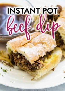 My new favorite Instant Pot recipe? French Dip! I love restaurant style beef dip, and this one that's made in the pressure cooker makes it so easy to whip up for dinner. Beef roast, au jus, and a french roll - delicious and high in protein! #instantpotrecipes #pressurecookerrecipes #frenchdip #beefdip #baronaubeef #roastbeef