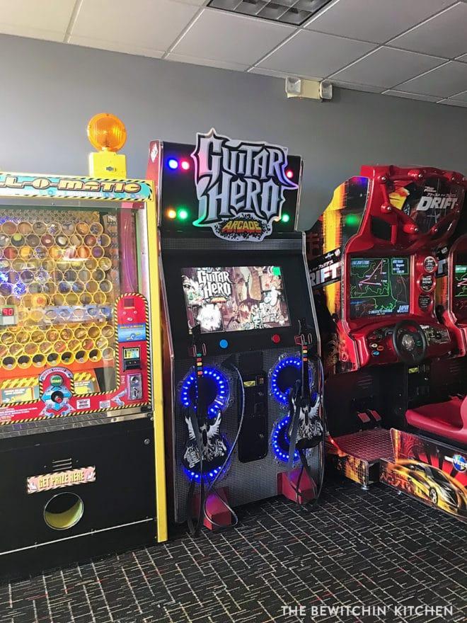 Guitar hero game at the arcade in Orlando
