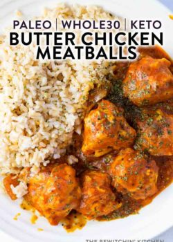 A bowl of rice and meatballs covered in butter chicken sauce.