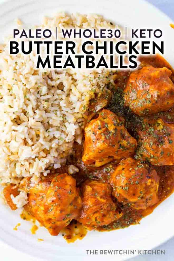 a bowl of rice and meatballs covered in butter chicken sauce - Kitchen Chicken