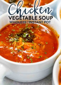 This whole30 soup recipe for chicken vegetable soup is made in the Instant Pot Pressure Cooker. However, this clean eating recipe can be easily made in the Crockpot or over the stove top. Bonus: it's paleo approved too! #chickenvegetablesoup #paleorecipes #ketorecipes #whole30recipes #cleaneatingrecipes
