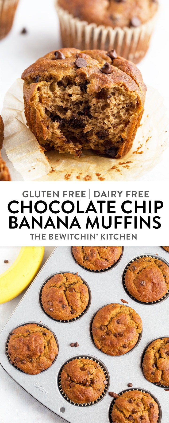 Gluten Free Banana Chocolate Chip Muffins - this allergy friendly recipe is both gluten free and dairy free. This healthy recipe is easy and great for kids! #thebewitchinkitchen #glutenfreemuffins #dairyfreebaking #glutenfreebaking #bananachocolatechipmuffins #glutenfreebananachocolatechipmuffins