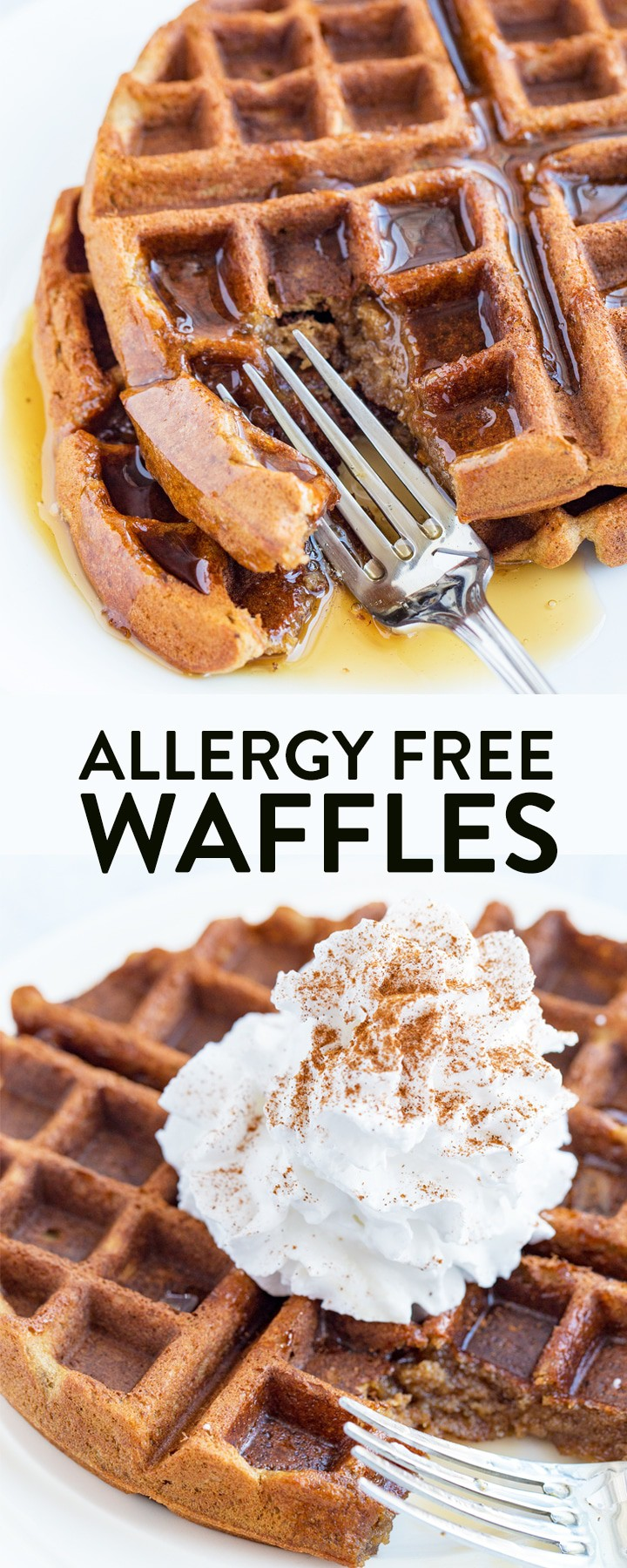 Allergy Free Waffles - these awesome, gluten free waffles are also vegan (dairy free) and so easy to make! They're great for breakfast, for brunch, for picky eaters, and for kids. I love this healthy and allergy friendly twist on Belgian waffles. #thebewitchinkitchen #allergyfreewaffles #glutenfreewaffles #dairyfreewaffles #belgianwaffles #easywaffles #easybreakfastrecipes #glutenfreebreakfast