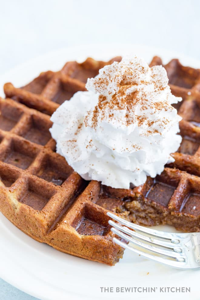 Gluten free waffles with whipped cream