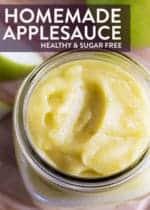 Close up overhead shot of homemade healthy applesauce