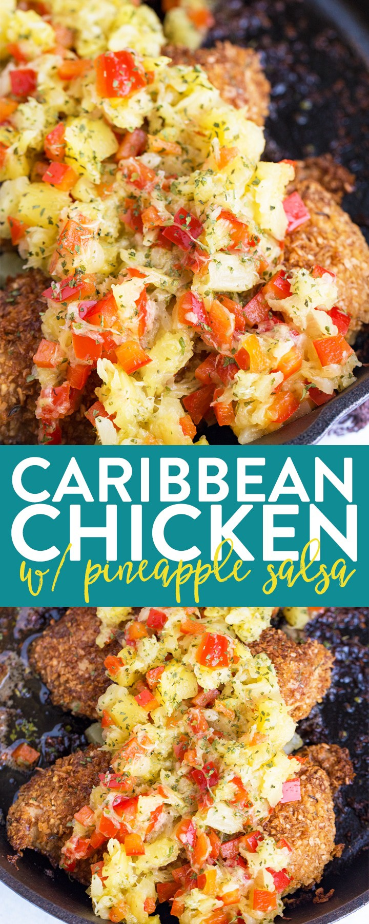 Caribbean Chicken with Pineapple Salsa recipe - An easy chicken dinner inspired by the tropics. Coconut crusted chicken breasts with a homemade Jamaican jerk seasoning with a sweet and tropical pineapple salsa. #ad #thebewitchinkitchen #chickenbreastrecipes #caribbeanchicken #coconutcrustedchicken #chickendotca #jerkseasoning #pineapplerecipes #salsa #easyrecipes #weeknightrecipes